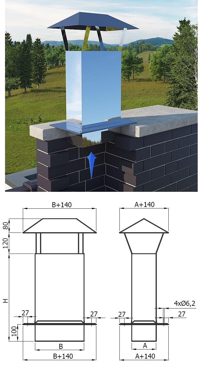 przedłużenie komina prostokątne z daszkiem