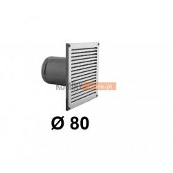 Czerpnia powietrza prostokątna z siatką 80 mm nierdzewna
