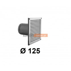 Czerpnia powietrza prostokątna z siatką 125 mm nierdzewna