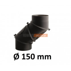 Kolano kominowe żaroodporne 150 mm regulowane CZARNE
