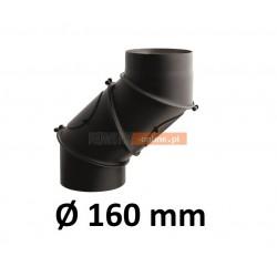 Kolano kominowe żaroodporne 160 mm regulowane CZARNE