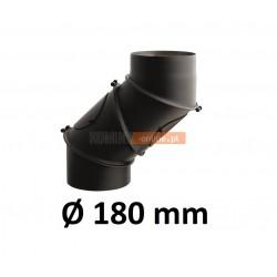 Kolano kominowe żaroodporne 180 mm regulowane CZARNE