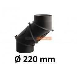Kolano kominowe żaroodporne 220 mm regulowane CZARNE