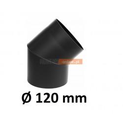 Kolano kominowe 120 mm żaroodporne 45 stopni CZARNE