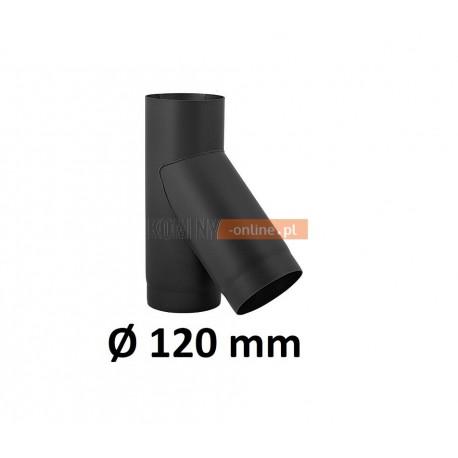 Trójnik kominowy 120 mm żaroodporny czarny 45 stopni