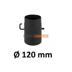 Szyber kominowy 120 mm żaroodporny z krótką rączką czarny