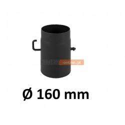 Szyber kominowy 160 mm żaroodporny z krótką rączką czarny