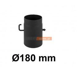 Szyber kominowy 180 mm żaroodporny z krótką rączką czarny