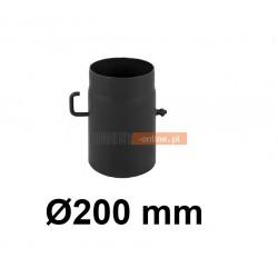 Szyber kominowy 200 mm żaroodporny z krótką rączką czarny