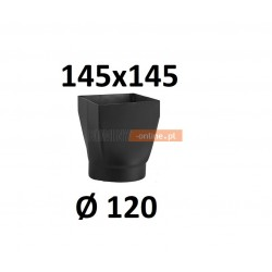 Redukcja kominowa żaroodporna czarna czopuch 145x145/120 mm
