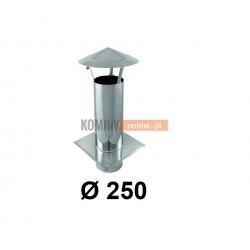 Daszek kominkowy 250 mm z podstawą do wentylacji ocynk