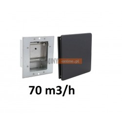 Nowoczesny stabilizator wentylacji kwadratowy 70 m3/h  czarny