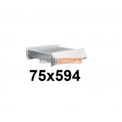 Nawietrzak ścienny prostokątny 75x594 mm z zaworem zwrotnym inox