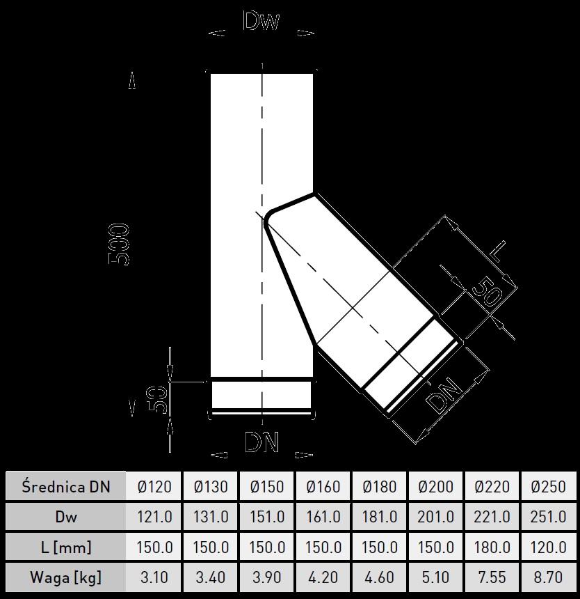 trójnik kominkowy 45 stopni