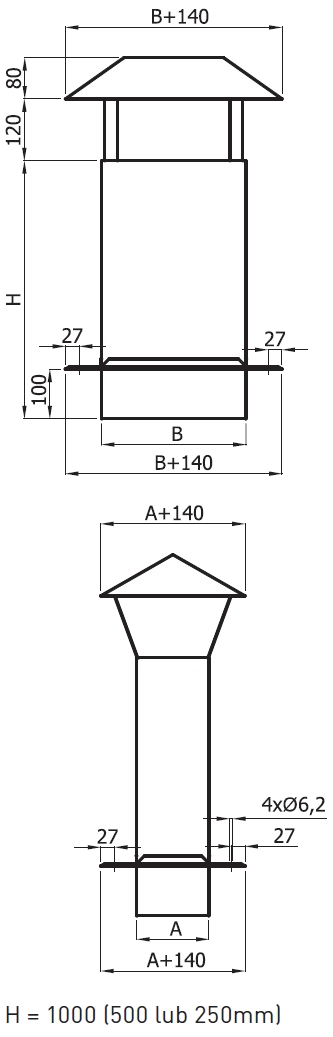 przedłużenie komina z daszkiem