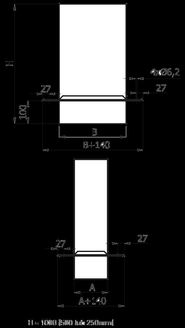 przedłużenie komina prostokątne