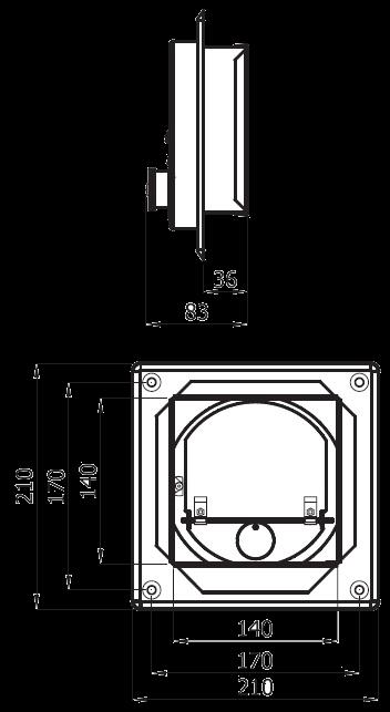 regulator ciągu kwadratowy 14x14 cm