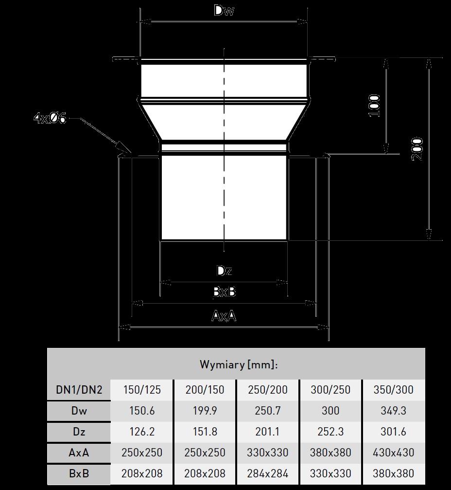 króciec dachowy redukcyjny