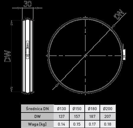 opaska zaciskowa rury kominkowej elastycznej