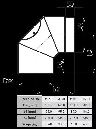 kolano kwaso i żaroodporne 2 mm