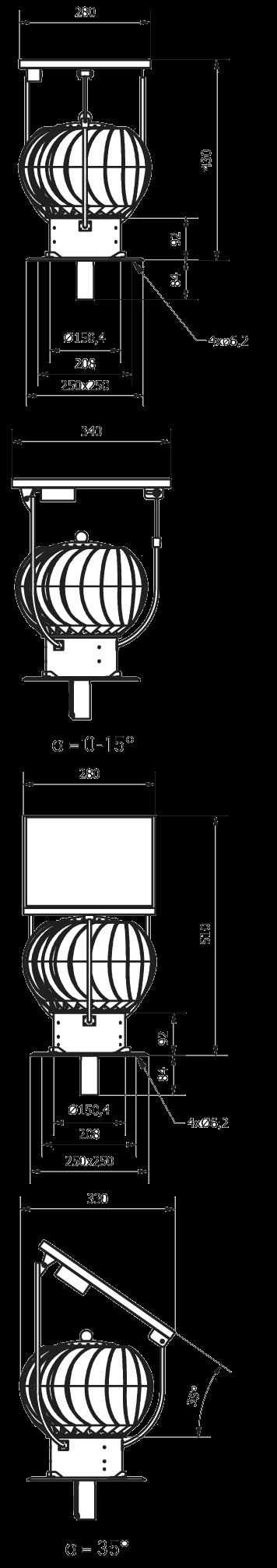 nasada wentylacyjna z panelem fotowoltaicznym