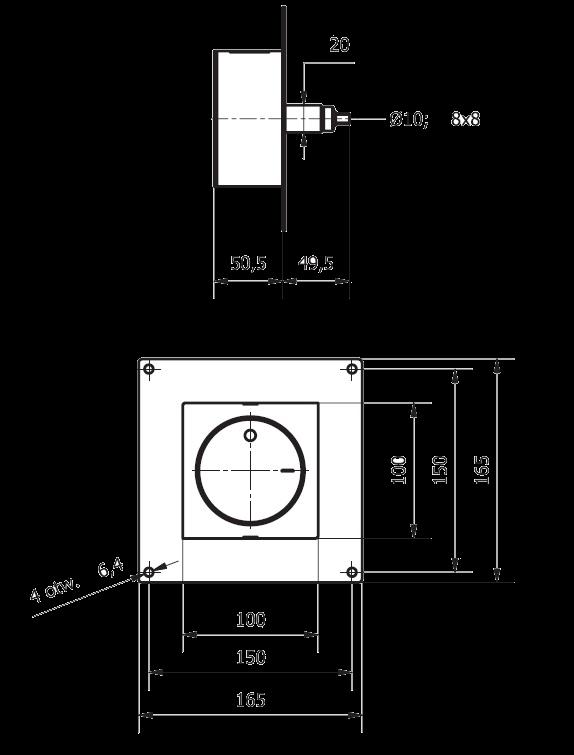 pokrętło szybra natynkowe kwadratowe